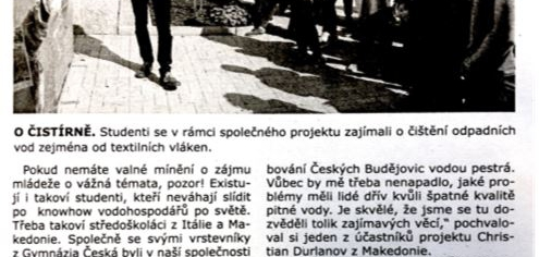 Napsali o nás v listech ČEVAKu (Reported on in ČEVAK Company Paper))